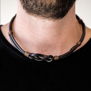Corded knotted necklace unisex NWT Paparazzi